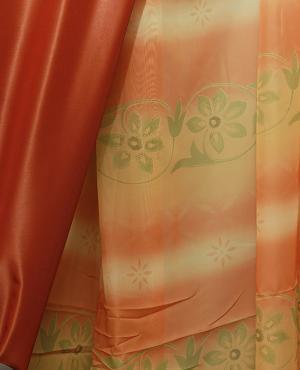 Perdea bucatarie din voal, cu model floral